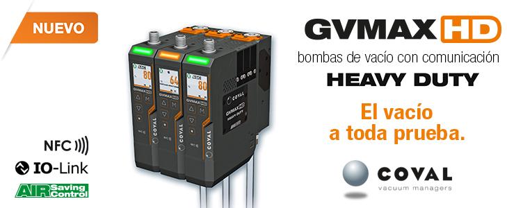 GVMAX HD, bombas de vacío con comunicación HEAVY DUTY -COVAL - IO-Link - NFC